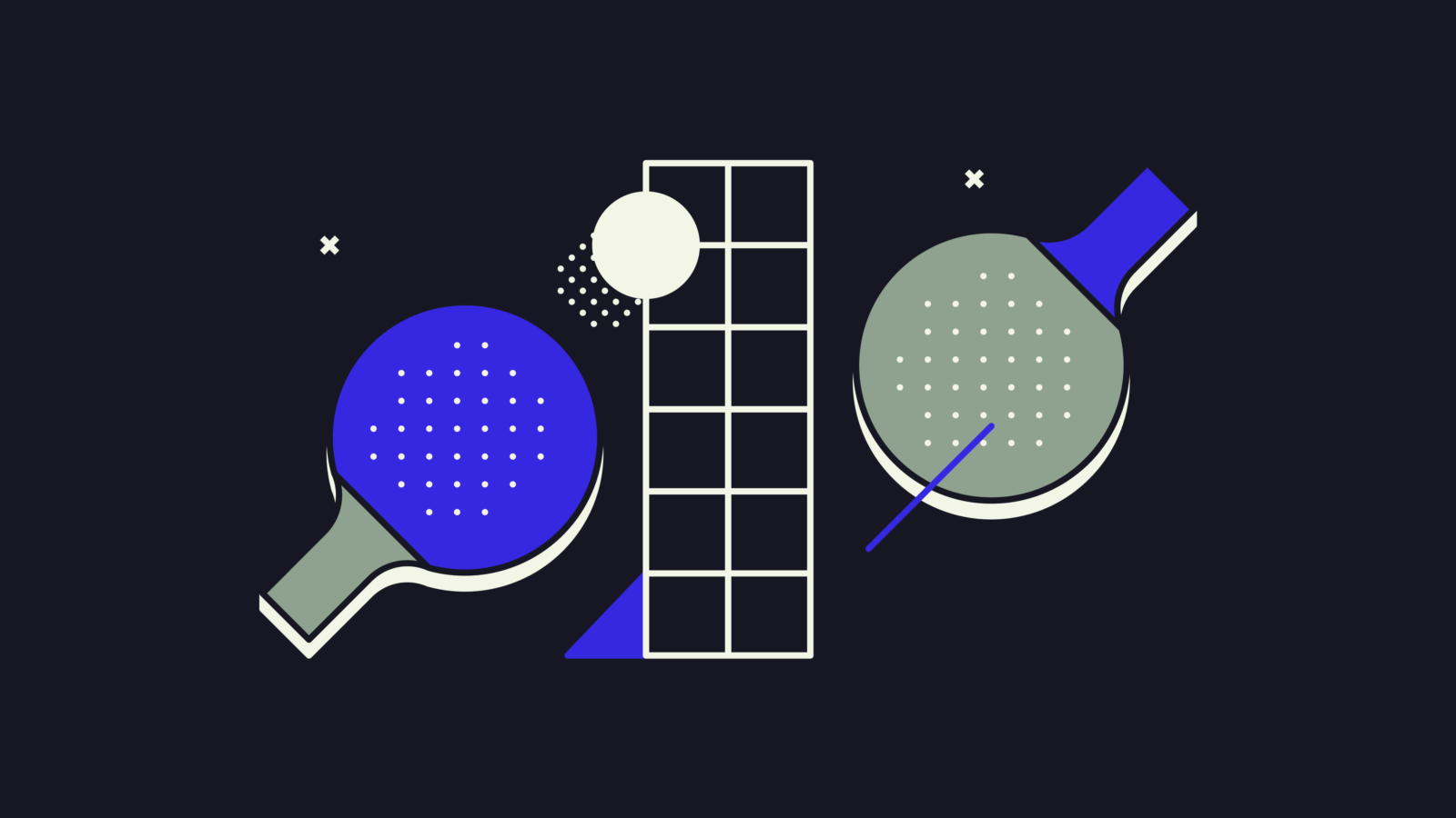 Graphic illustration of ping pong bats