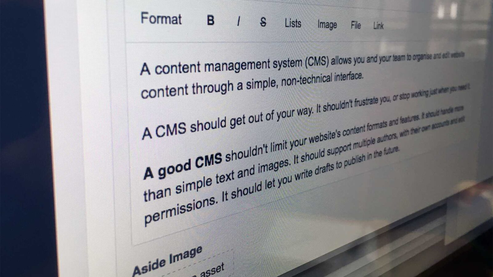 Craft CMS screenshot taken at an angle showing the rich text editor