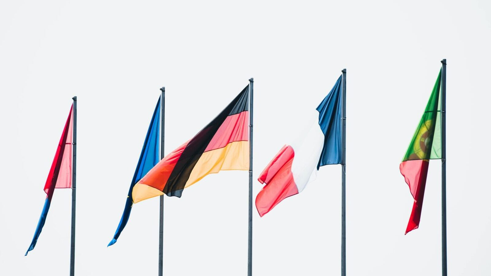 Flags blowing in the wind