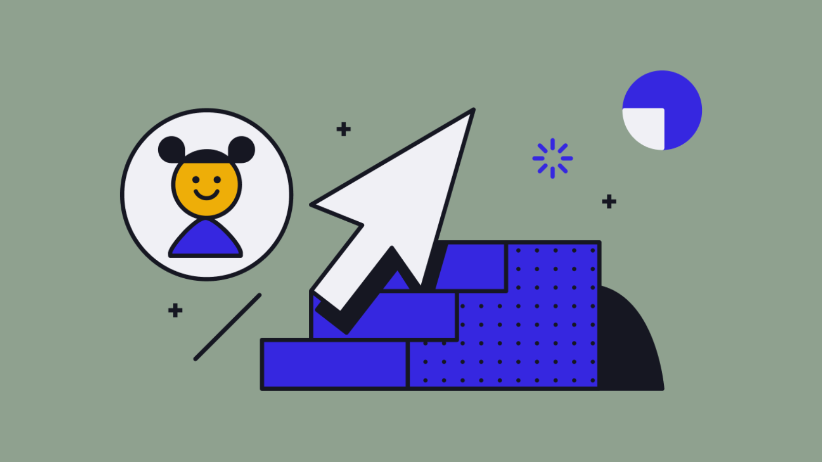 Graphic illustration indicating a young person moving up in a career trajectory