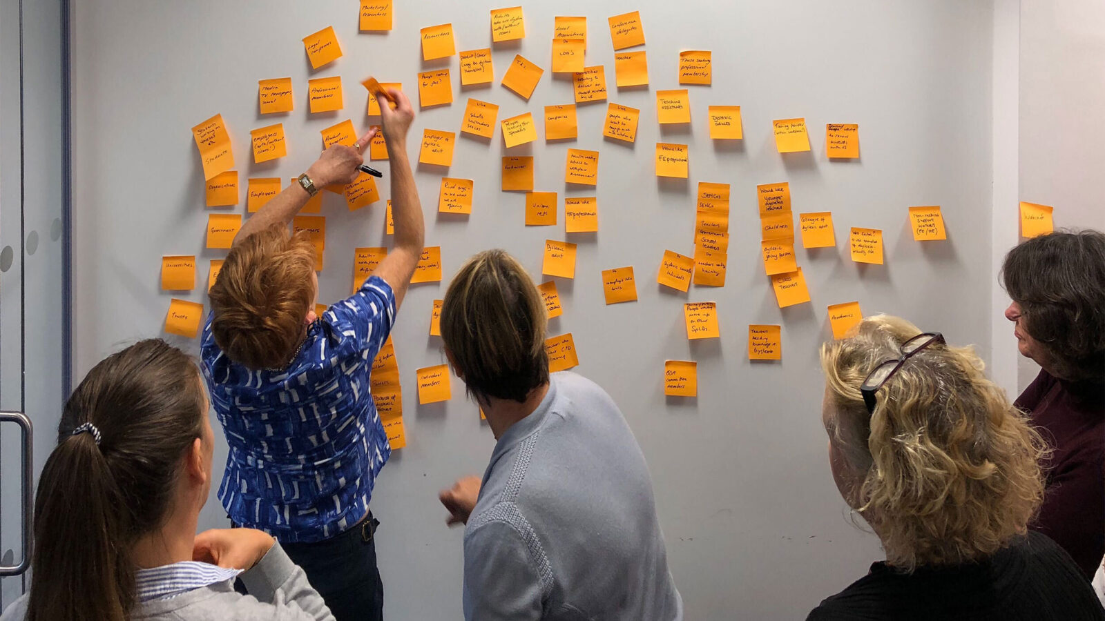 Five people taking part in a website discovery session. Multiple post-it notes are stuck to the wall ready for assessment.
