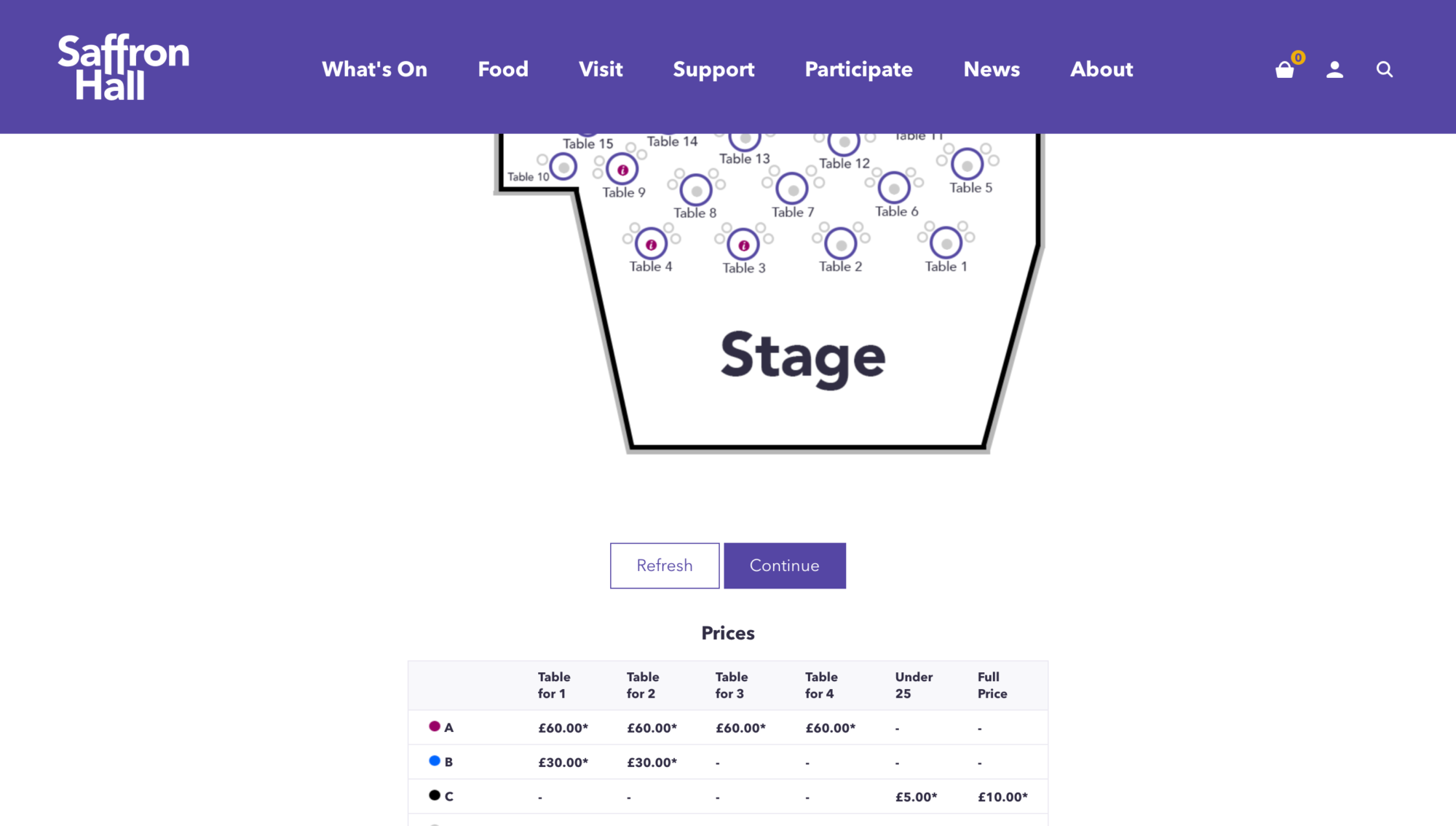 Screenshot of the Spektrix floor plan and seat picker as used on the Saffron Hell website