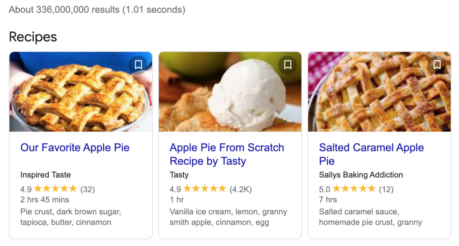 Three search results showing apple pies