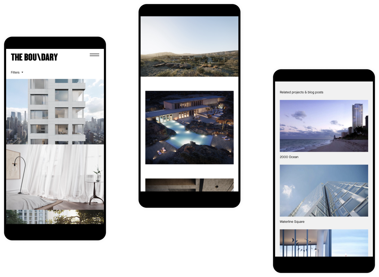 Three mobile screenshots