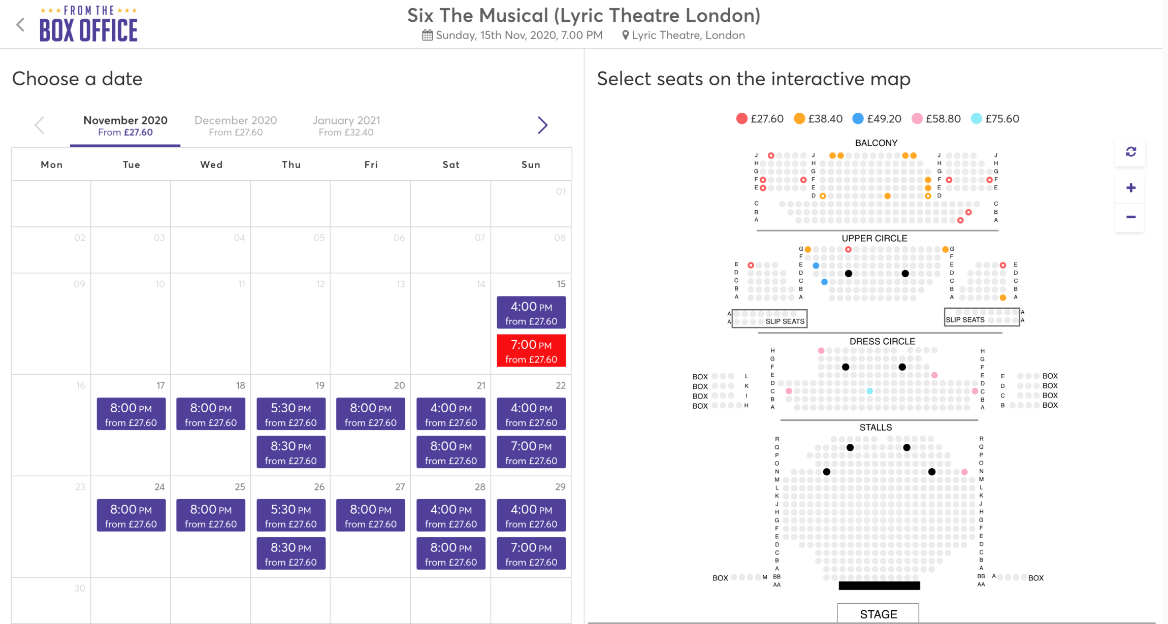 Screenshot showing Spektrix date picker on the left and seat picker on the right for Six: The Musical