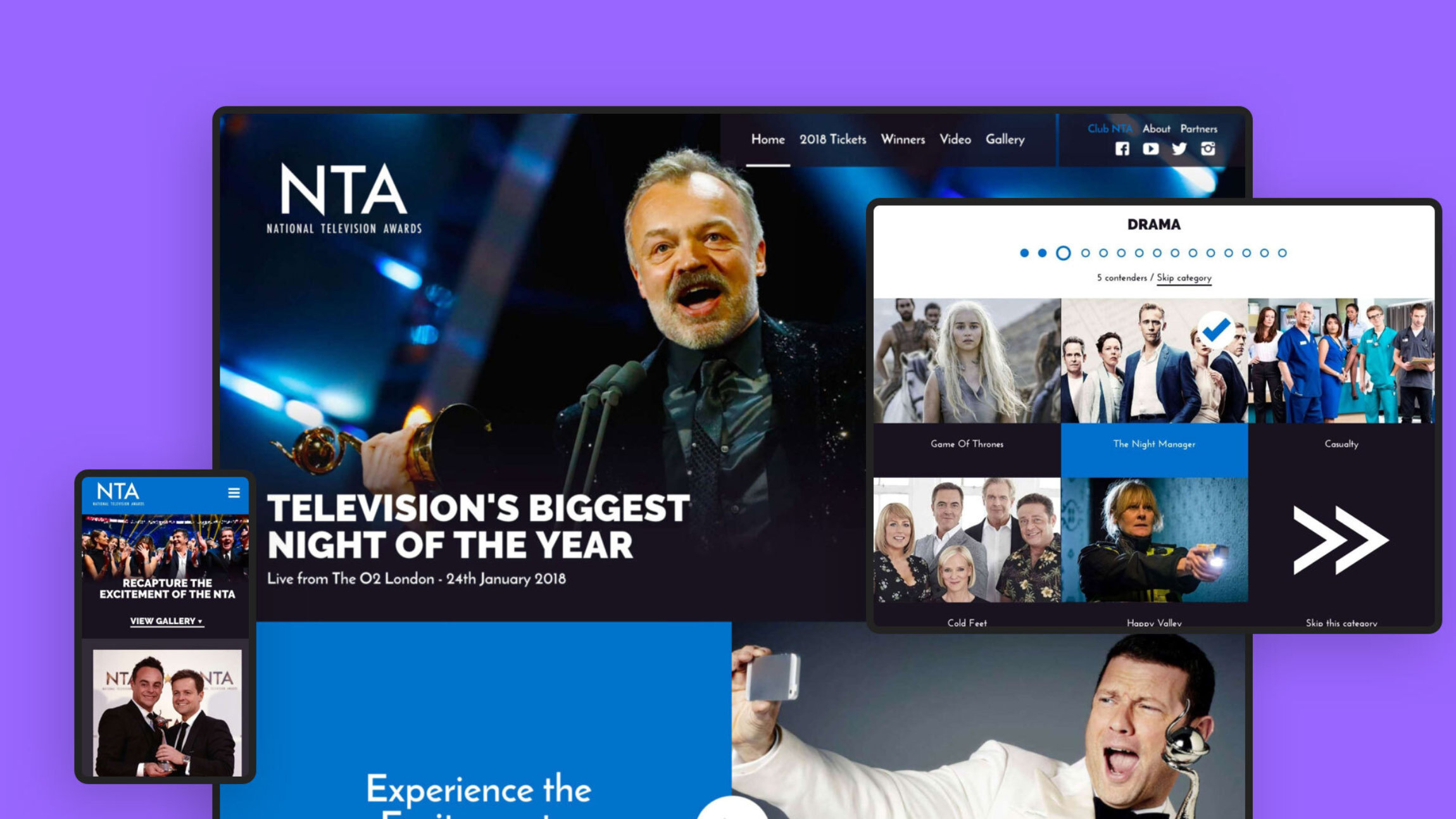 We've helped run the massive online vote for the National Television Awards since 2009, registering millions of submissions every year