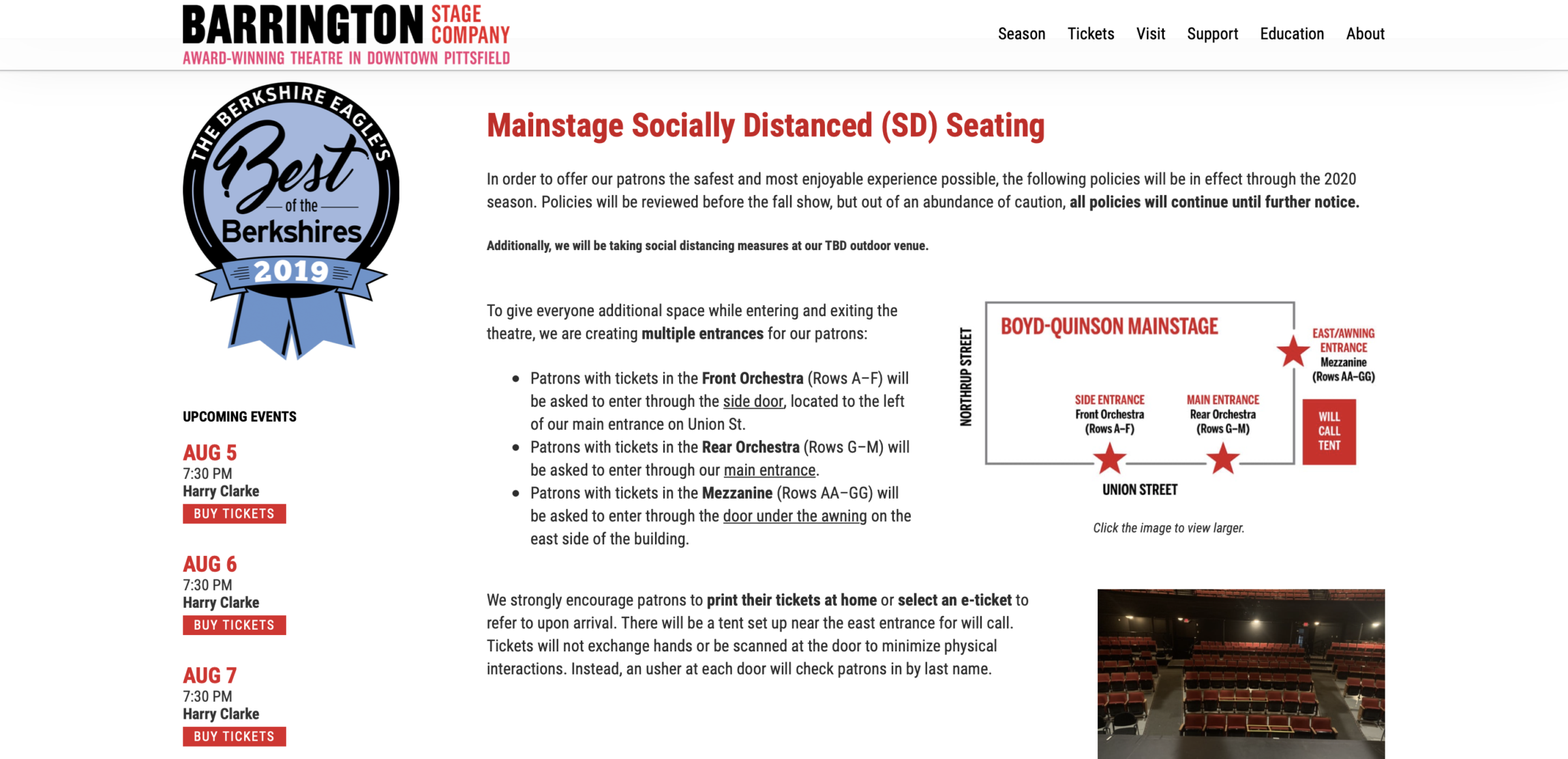 Screenshot showing the Barrington Stage Company social distancing page