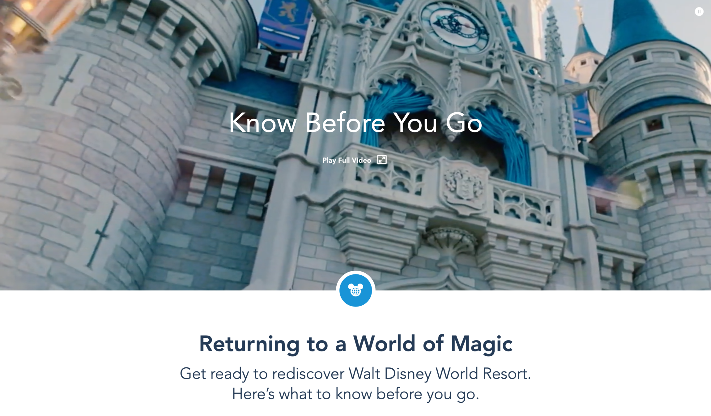 The first thing users see on the Disney COVID page is a full-width video pulling out key messaging