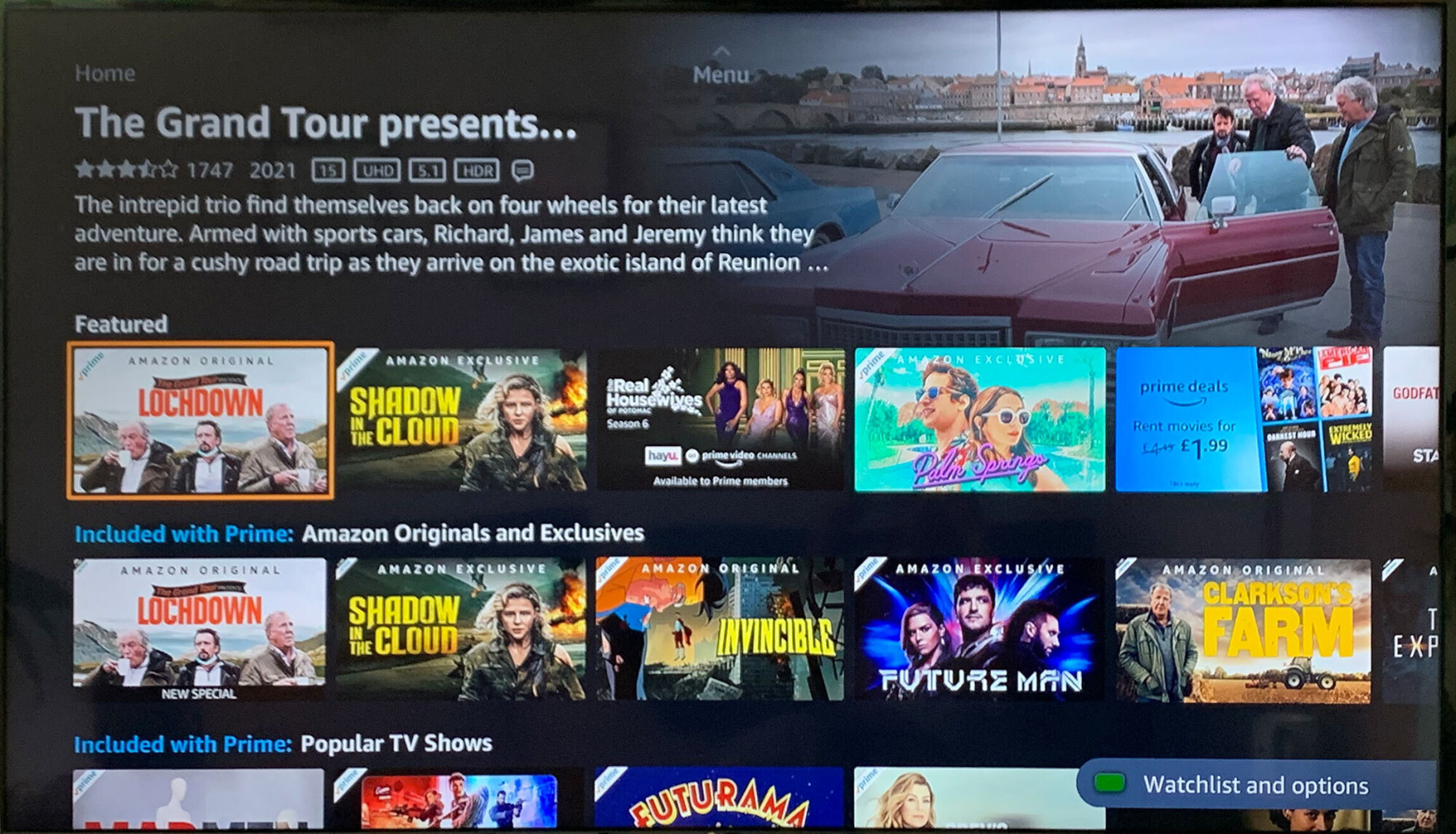 Screenshot of the Amazon Prime Video homepage showing Grand Tour content three times, about a quarter of the shows on display..
