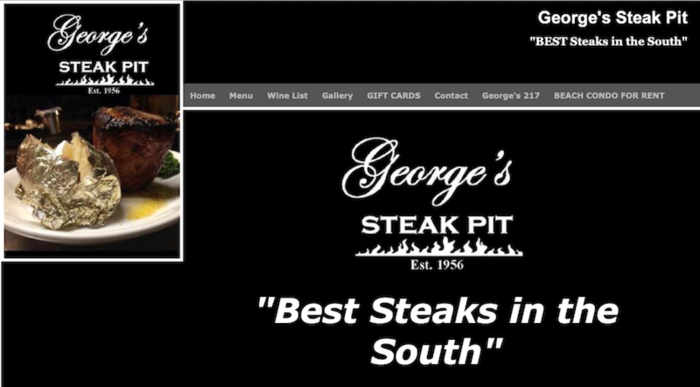Screenshot from George's Steak Pit showing a dated website layout. The main element is a large quote: Best Steaks in the South