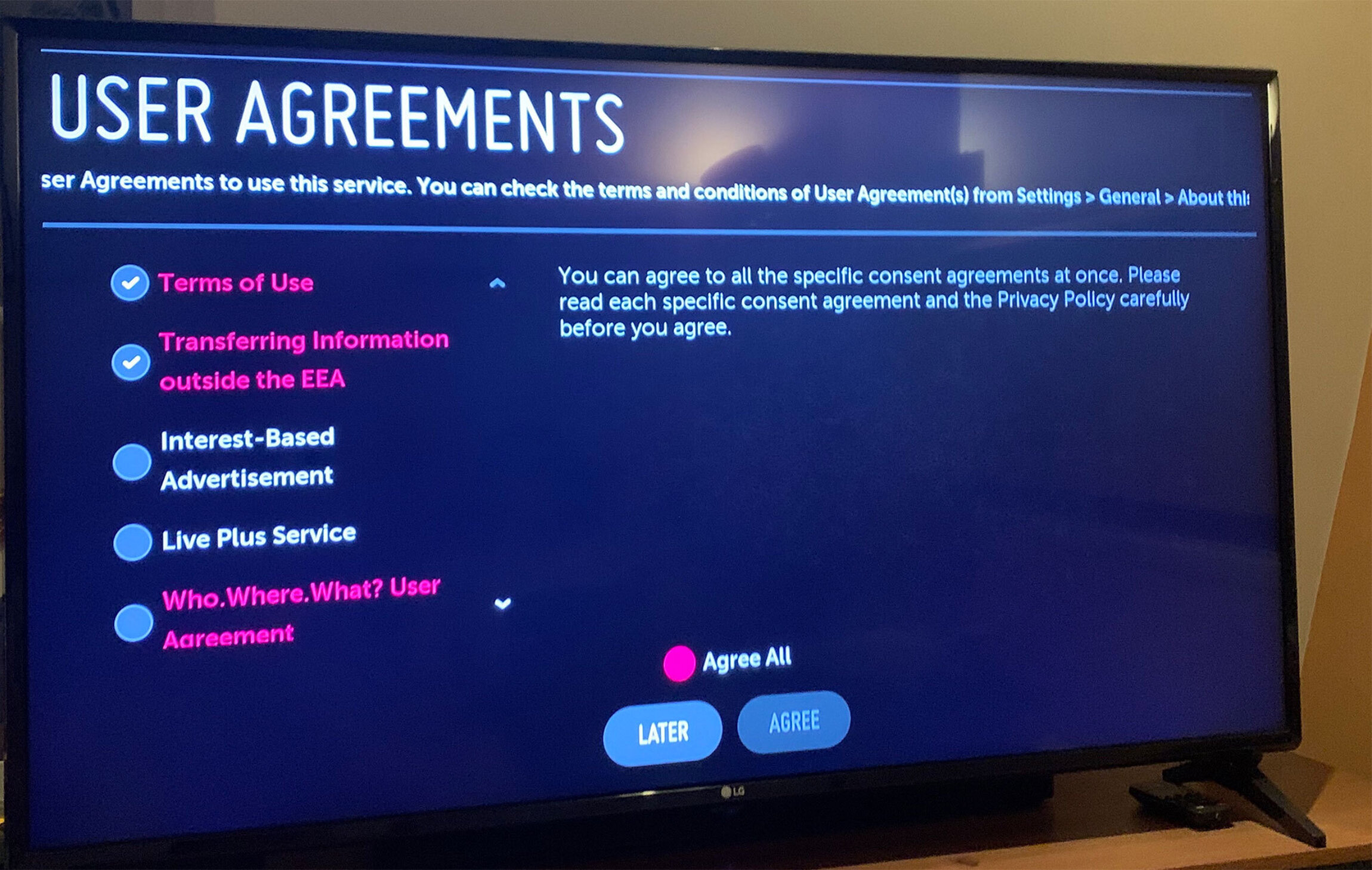 Screenshot showing user agreements needed to advance to additional content