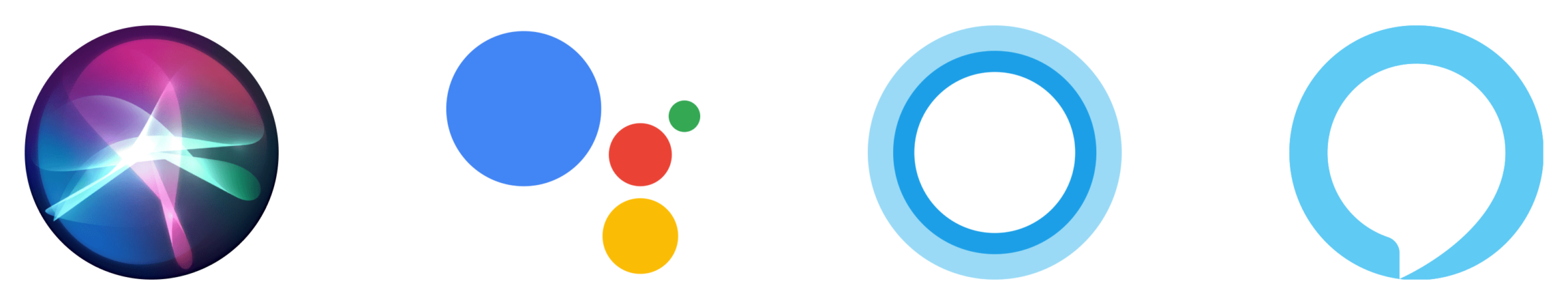 Four logos for Apple, Google, Microsoft and Amazon's voice assistants